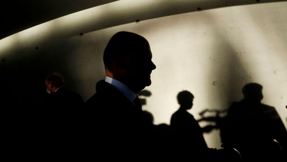 Finanzminister Olaf Scholz vor der Anhörung zum Wirecard-Skandal im Bundestag
