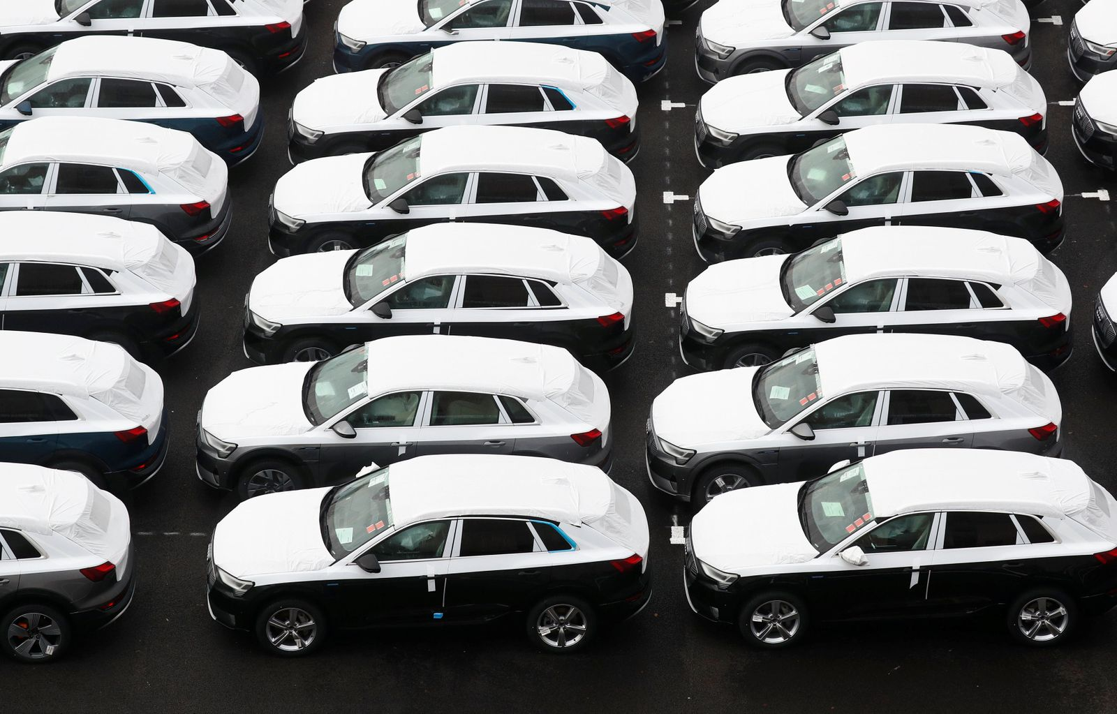 Audi e-tron cars are seen outside Brussels' assembly plant