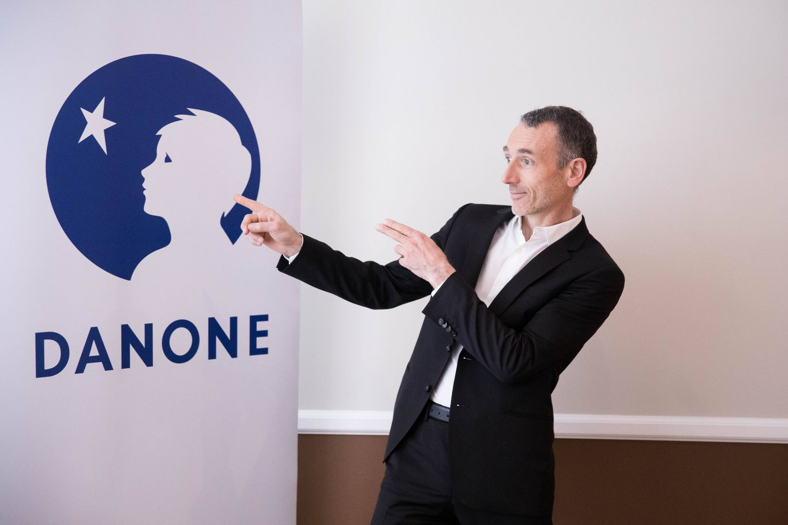 Emmanuel Faber chief executive officer of Danone SA poses prior to attend the presentation of the