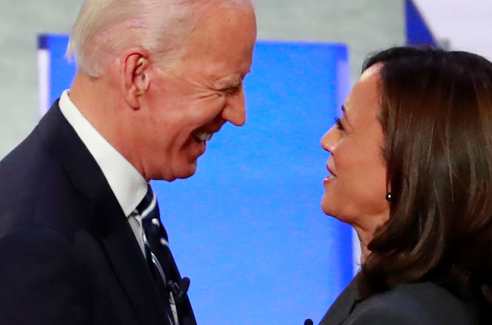 Candidates former Vice President Joe Biden and U.S. Senator Kamala Harris take the stage on the second night of the second 2020 Democratic U.S. presidential debate in Detroit