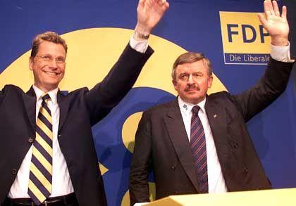 Da war die Welt noch in Ordnung: Parteichef Westerwelle, Vizechef Möllemann (r.)