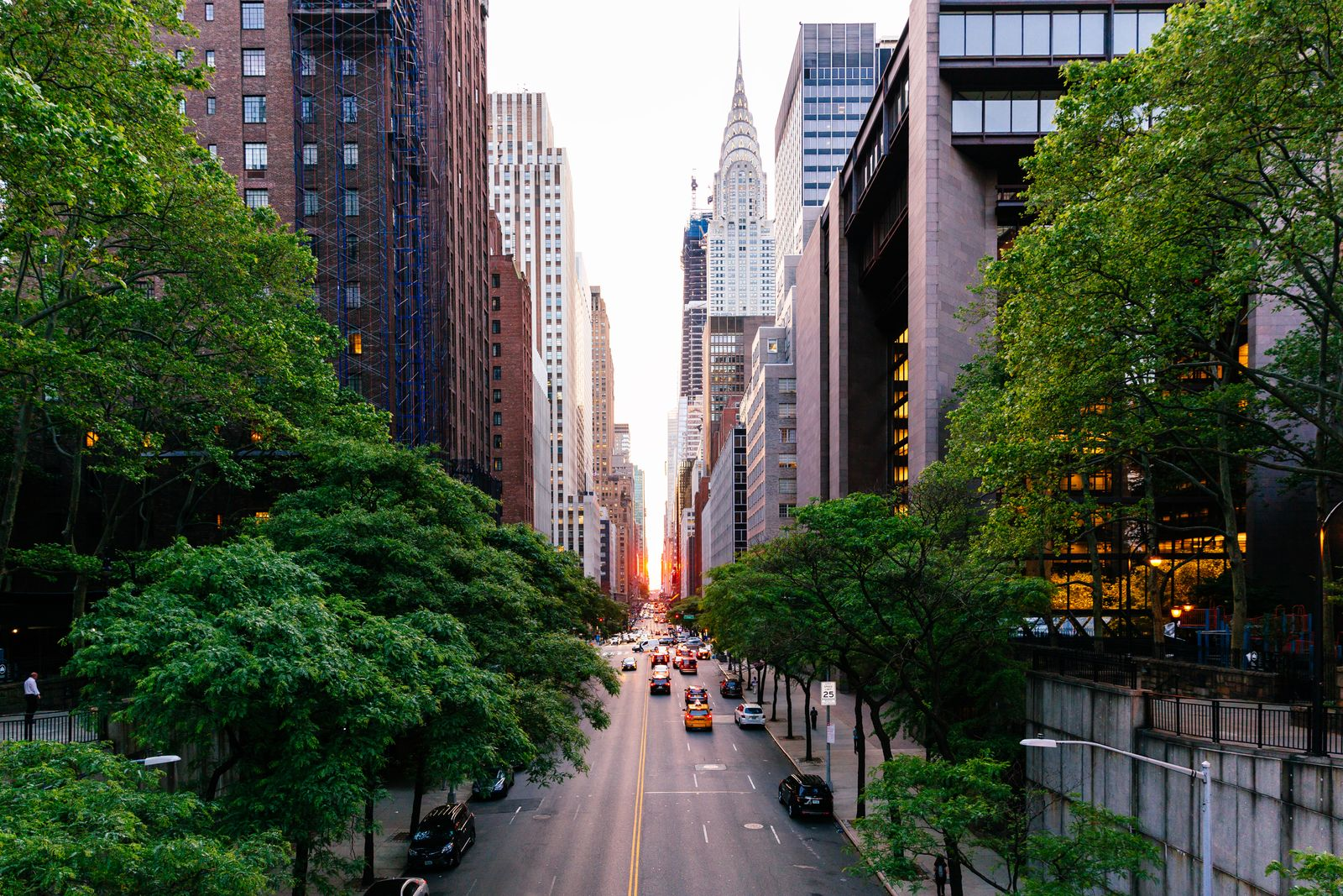 Manhattanhenge seen on 42nd street in New York City, USA