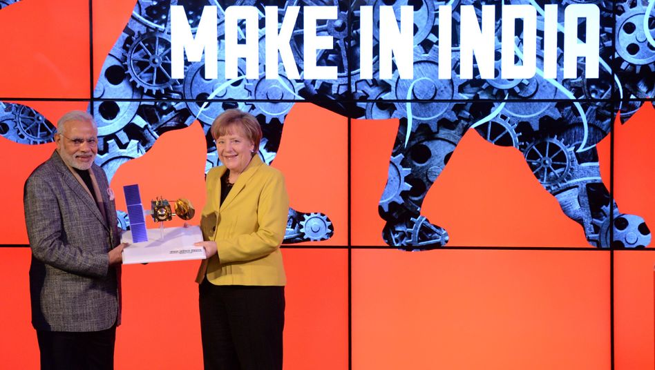 Kanzlerin Merkel, Indiens Premier Narendra Modi: Indien war in diesem Jahr Partnerland der Hannover Messe