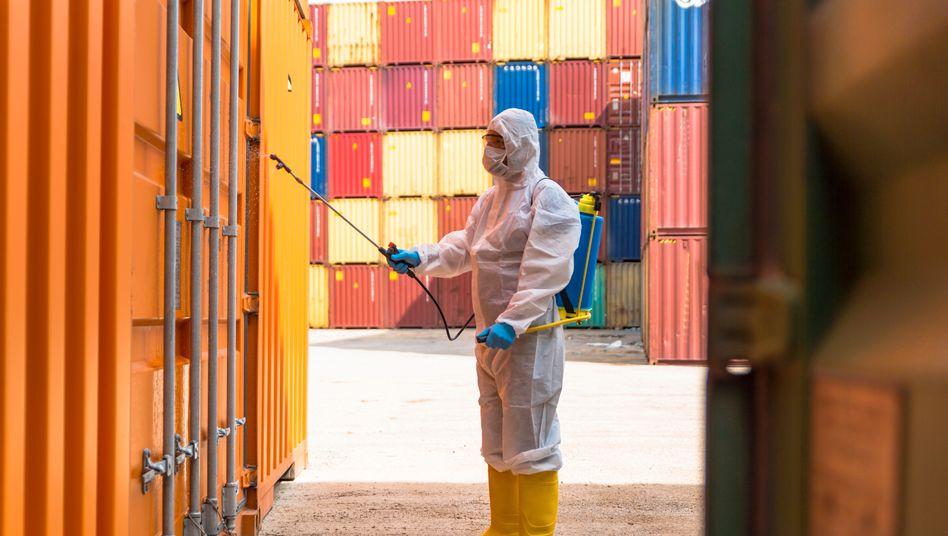 Gelähmter Welthandel: Desinfektion im Containerterminal.