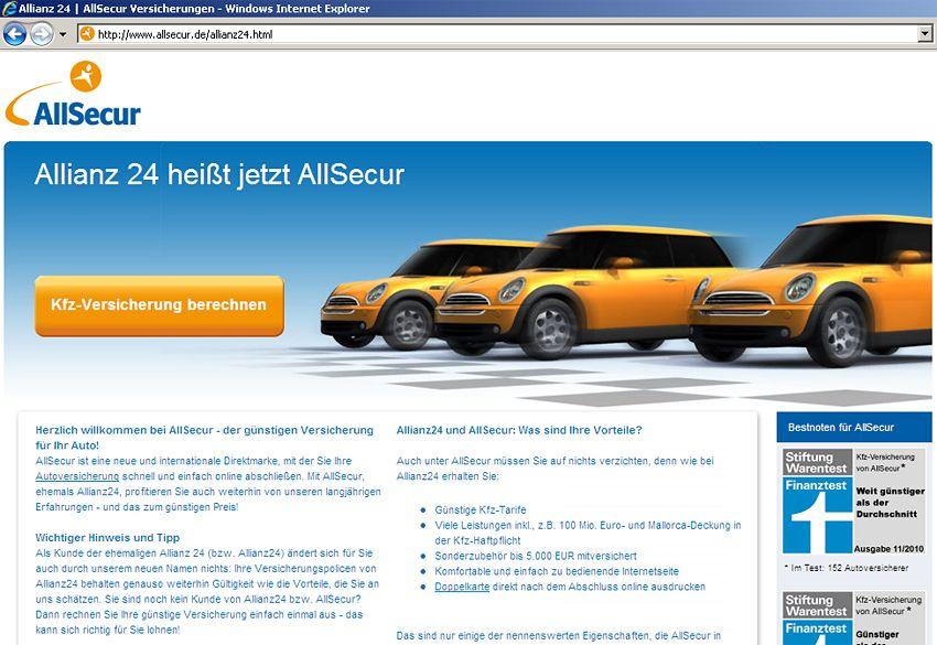 SCREENSHOT Allianz 24 wird zu AllSecur / Versicherung im Interne