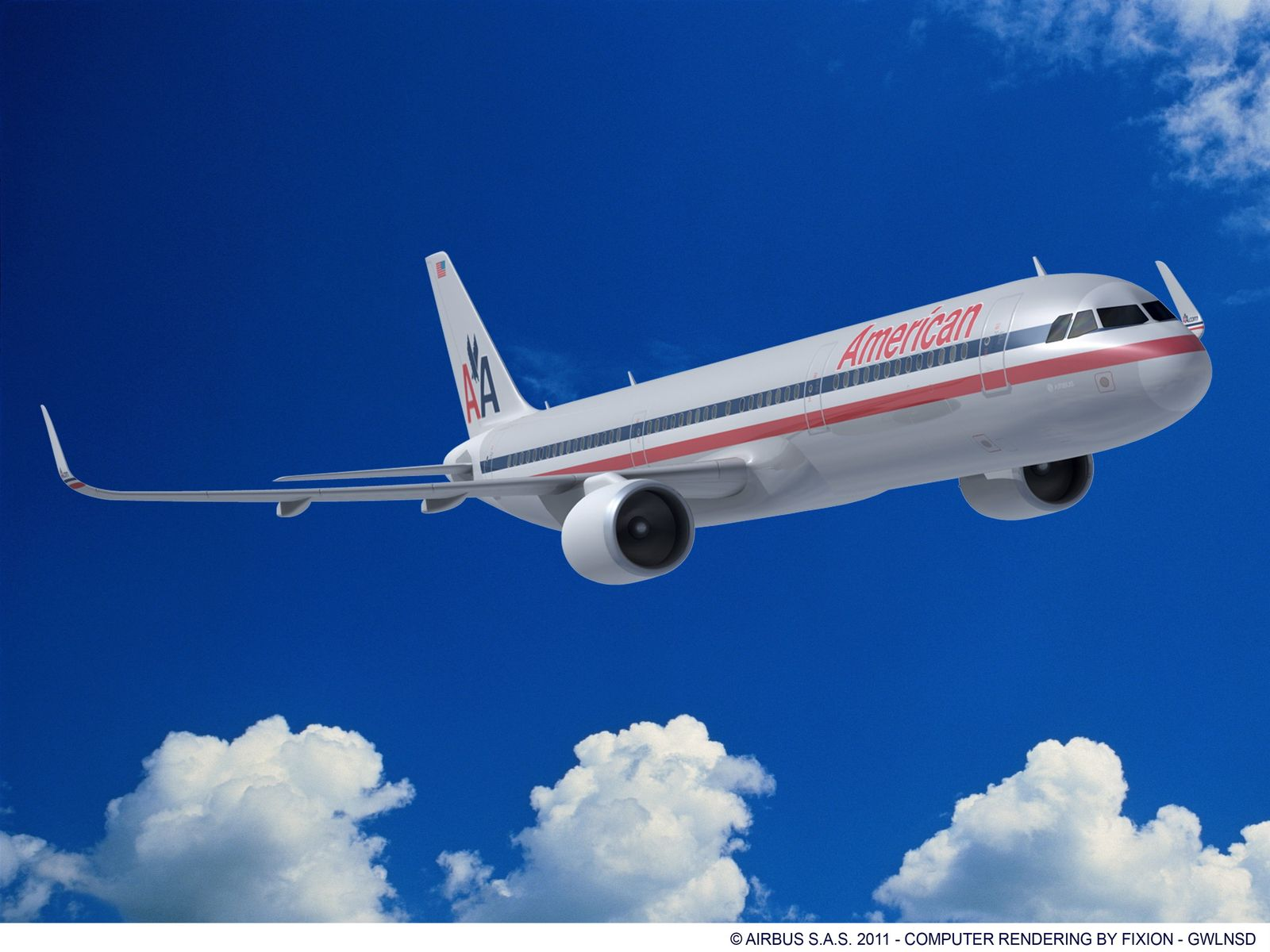 Airbus A320 / American Airline / Rendering
