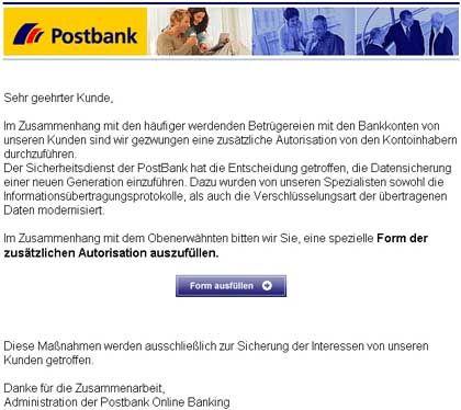 Phishing-Mail mit Postbank-Logo: Ahnungslose Kunden betrogen