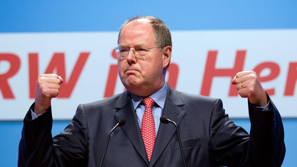 """Steinbrück auf dem Parteitag der NRW-SPD in Münster: """"Die SPD setzt auf Sieg"""""""