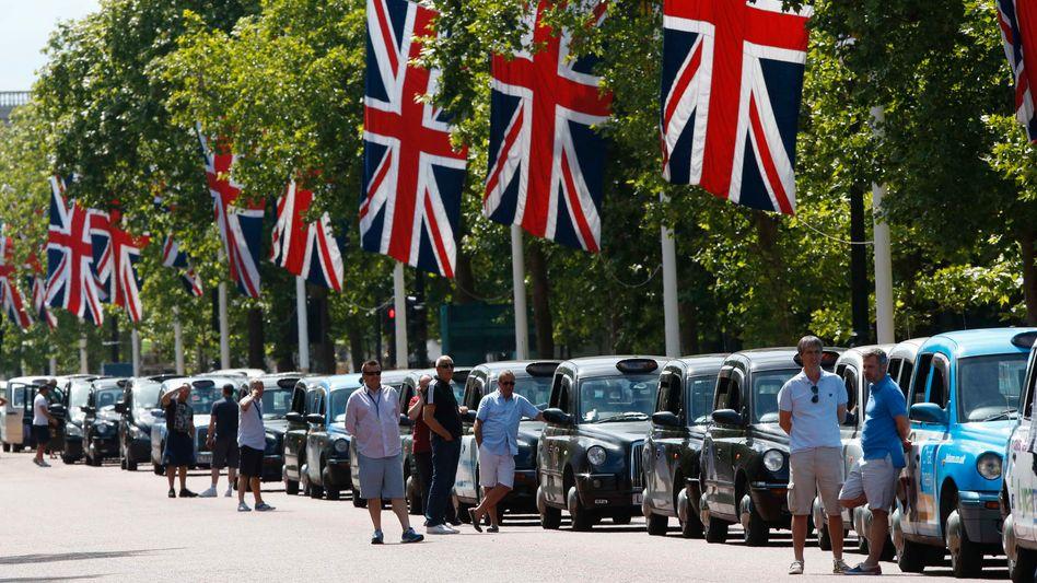Londoner Taxifahrer beim Protest gegen Uber