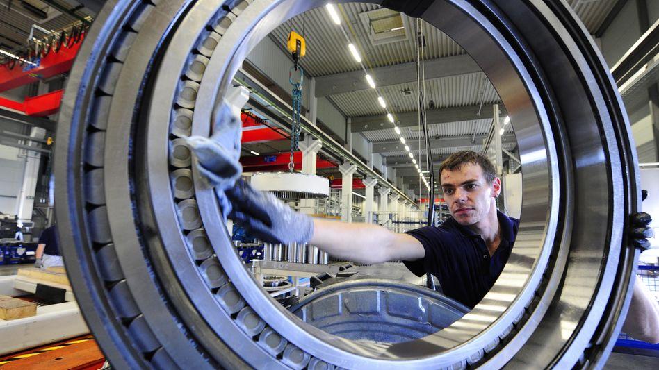 Fertigung bei Eickhoff Wind Power im sächsischen Klipphausen: Die Aufträge für die Industrie gehen zurück