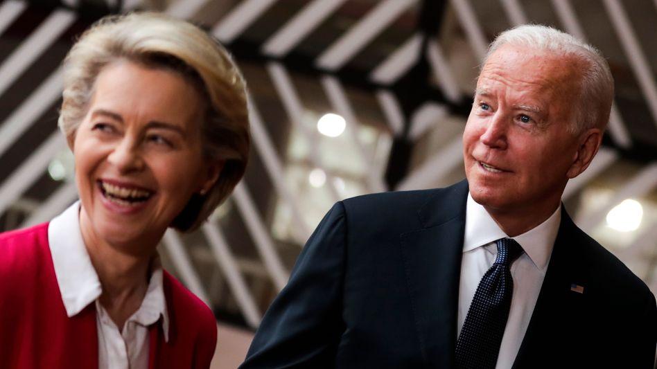 Gemeinsam stark? EU-Kommissionspräsidentin Ursula von der Leyen und US-Präsident Joe Biden haben zumindest ihren jahrelangen Handelsstreit um Subventionen für Airbus und Boeing auf Eis gelegt