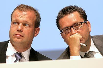 Angeklagt: Freenet-Chef Spoerr (r.), Finanzvorstand Krieger