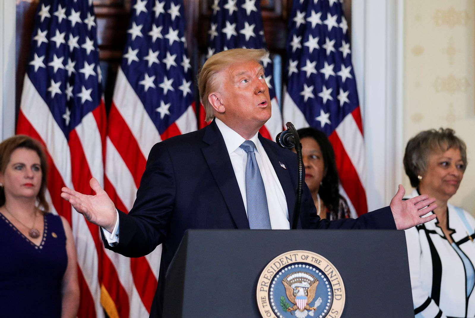 U.S. President Trump hosts signing ceremony marking 100th anniversary of 19th Amendment ratification at the White House in Washington