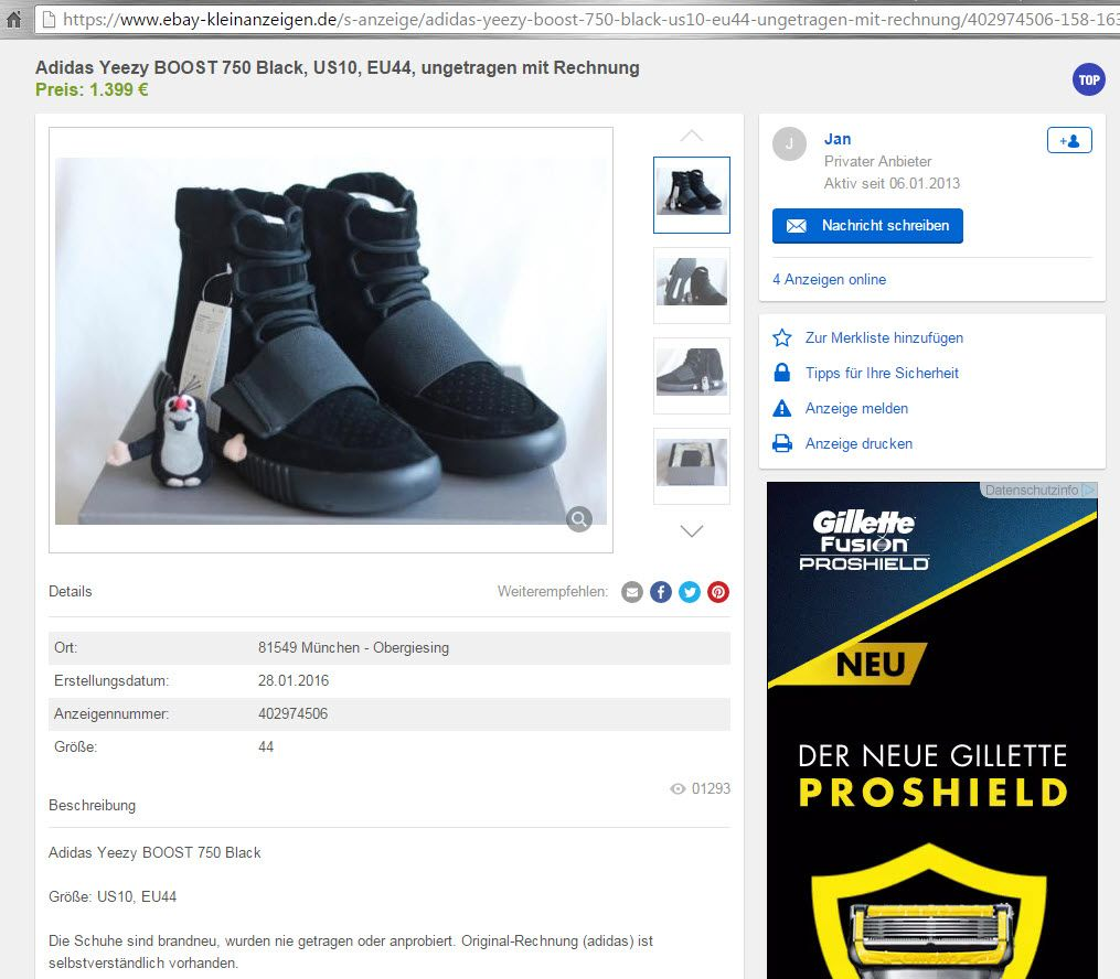 SCREENSHOT Adidas YEEZY Boost 750 Triple Black