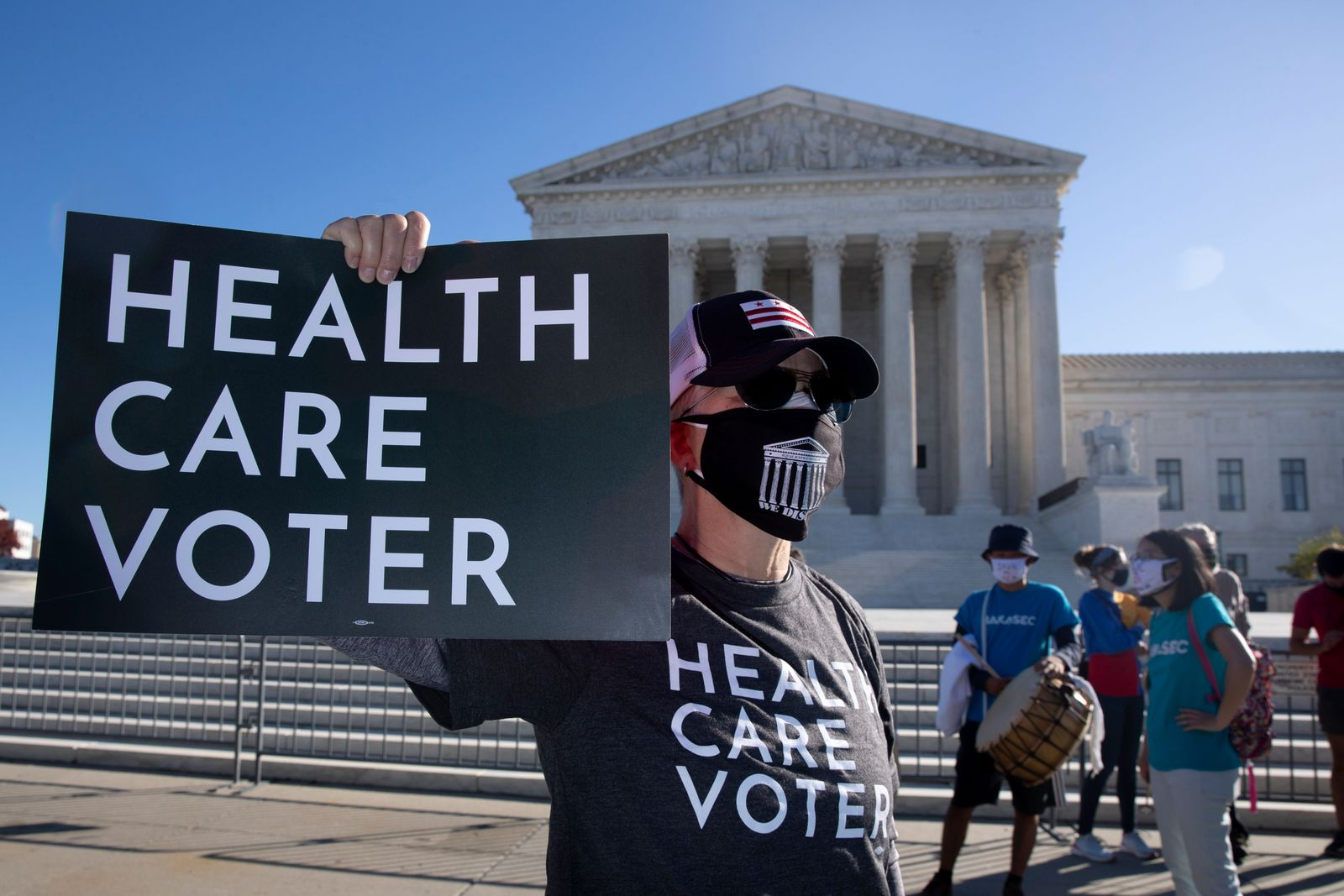 Supporters of the Affordable Care Act (ACA) demonstrate outside the US Supreme Court, Washington, USA - 10 Nov 2020