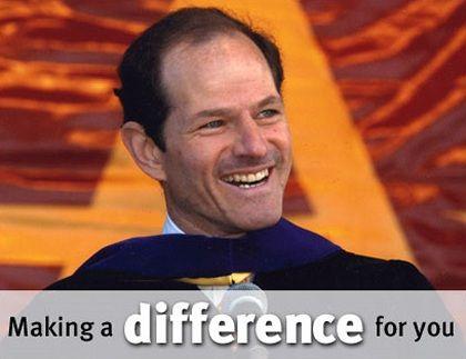 Kampagnen-Webseite von Eliot Spitzer: Lachen, repräsentieren, bissig sein
