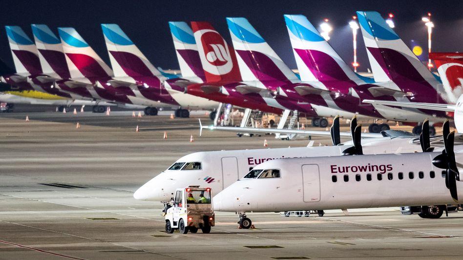 Viel zu häufig verspätet: Maschinen der Lufthansa-Tochter Eurowings, hier in Düsseldorf.