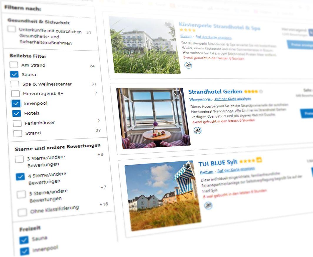 SCREENSHOT booking.com Filterauswahl