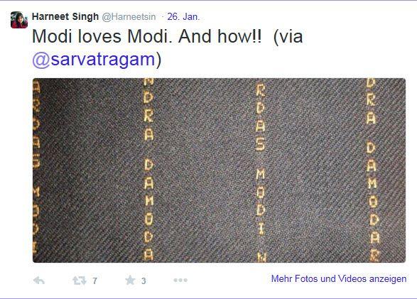 Bei Twitter machten Nahaufnahmen von Modis Anzug schnell die Runde (klicken Sie für eine größere Darstellung auf das Bild)