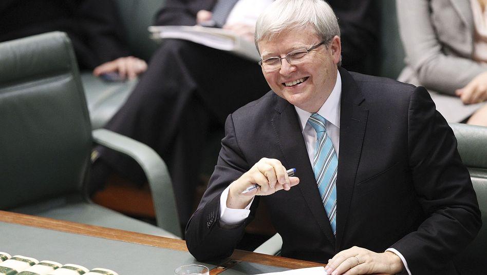 Hat nach dem Rücktritt Julia Gillards gut lachen: Der alt und neue Regierungschef Kevin Rudd