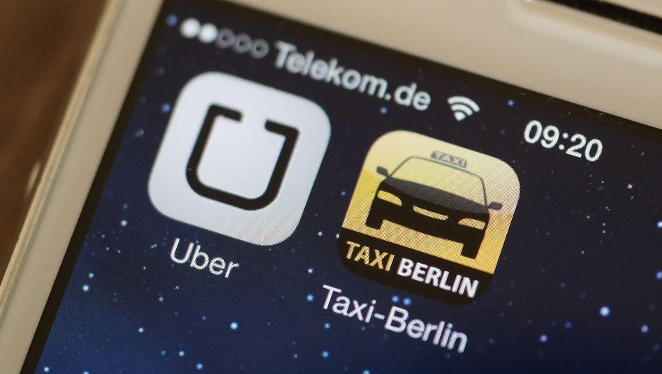 Uber- und Taxi-App
