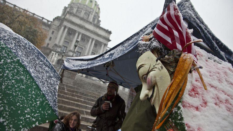 Occupy-Proteste in Harrisburg im Oktober: Die Hauptstadt des Bundesstaates Pennsylvania ist pleite, überwältigt von mindestens einer halben Milliarde Dollar Schulden
