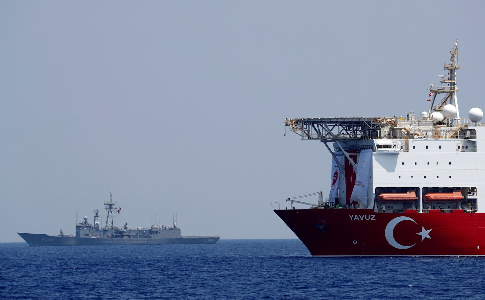 FILE PHOTO: Turkish drilling vessel Yavuz is pictured in the eastern Mediterranean See off Cyprus