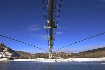 Ader der Weltwirtschaft: Die Alaska-Pipeline überquert den Fluß Tanana