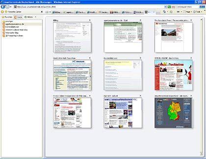 Viele Web-Seiten, eine Oberfläche: Vorläufiges Design des Internet Explorers Version 7