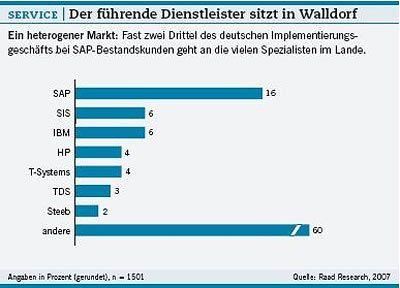 Heterogener Markt: SAP hat unter den IT-Dienstleistern die Nase vorn