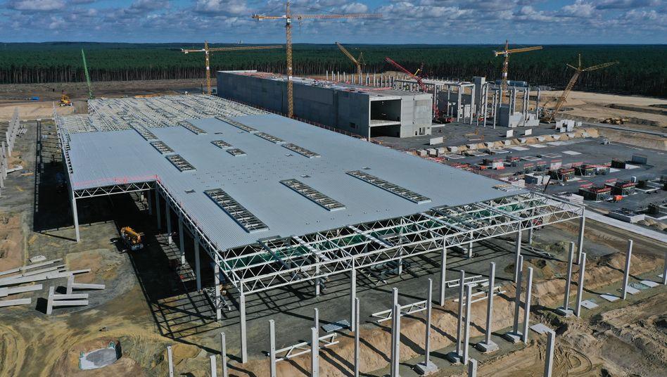 Baustelle der Tesla-Fabrik in Brandenburg am 6. September
